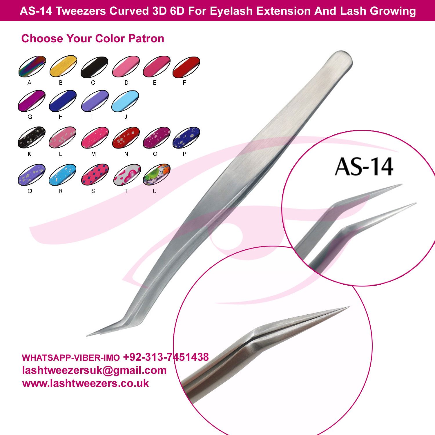 AS-14-Tweezers-Curved-3D-6D-For-Eyelash-Extension-And-Lash-Growing