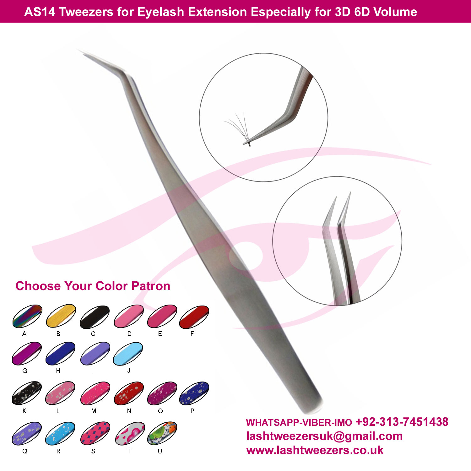 AS14-Tweezers-for-Eyelash-Extension-Especially-for-3D-6D-Volume-Mink-Eyelash-extension-Make-up-Tools-produce-by-LASH-TWEEZERS