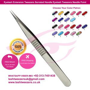 Eyelash Extension Tweezers Serrated Handle Eyelash Tweezers Needle Point