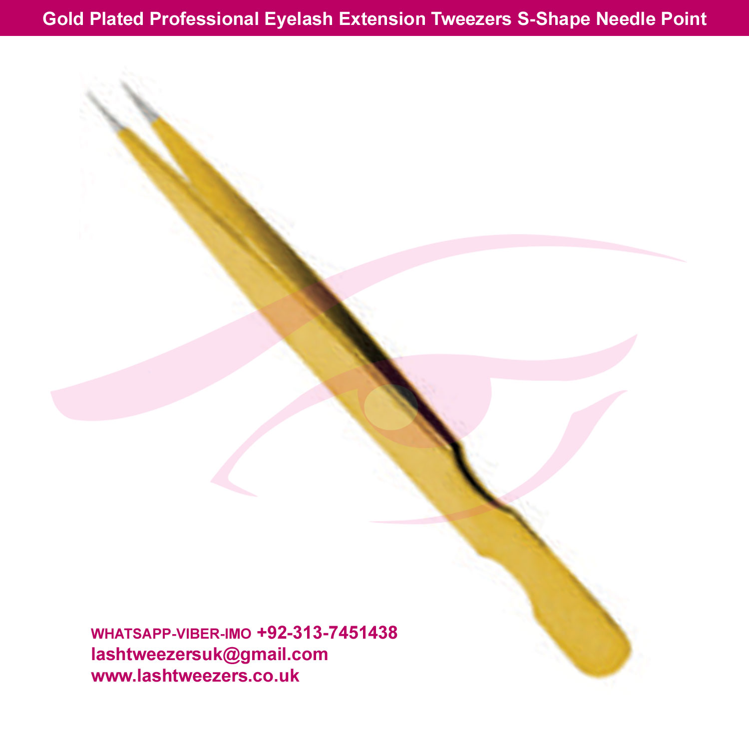 Gold Plated Professional Eyelash Extension Tweezers S-Shape Needle Point