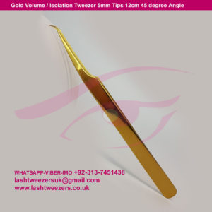 Gold Volume Isolation Tweezer 5mm Tips 12cm 45 degree Angle