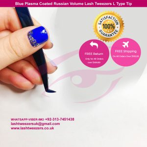 New-Best-Design-Blue-Plasma-Coated-Russian-Volume-Lash-Tweezer-L-Type-Tip