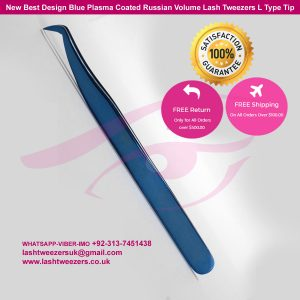 New Best Design Blue Plasma Coated Russian Volume Lash Tweezers L Type Tip