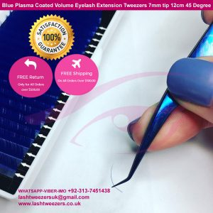 Volume-Eyelash-Extension-Tweezer-Blue-Plasma-7mm-tip-12cm-45-Degree-Angle