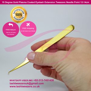 15 Degree Gold Plasma Coated Eyelash Extension Tweezers Needle Point 12-14cm