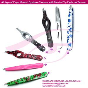 All type of Paper Coated Eyebrow Tweezer with Slanted Tip Eyebrow Tweezer