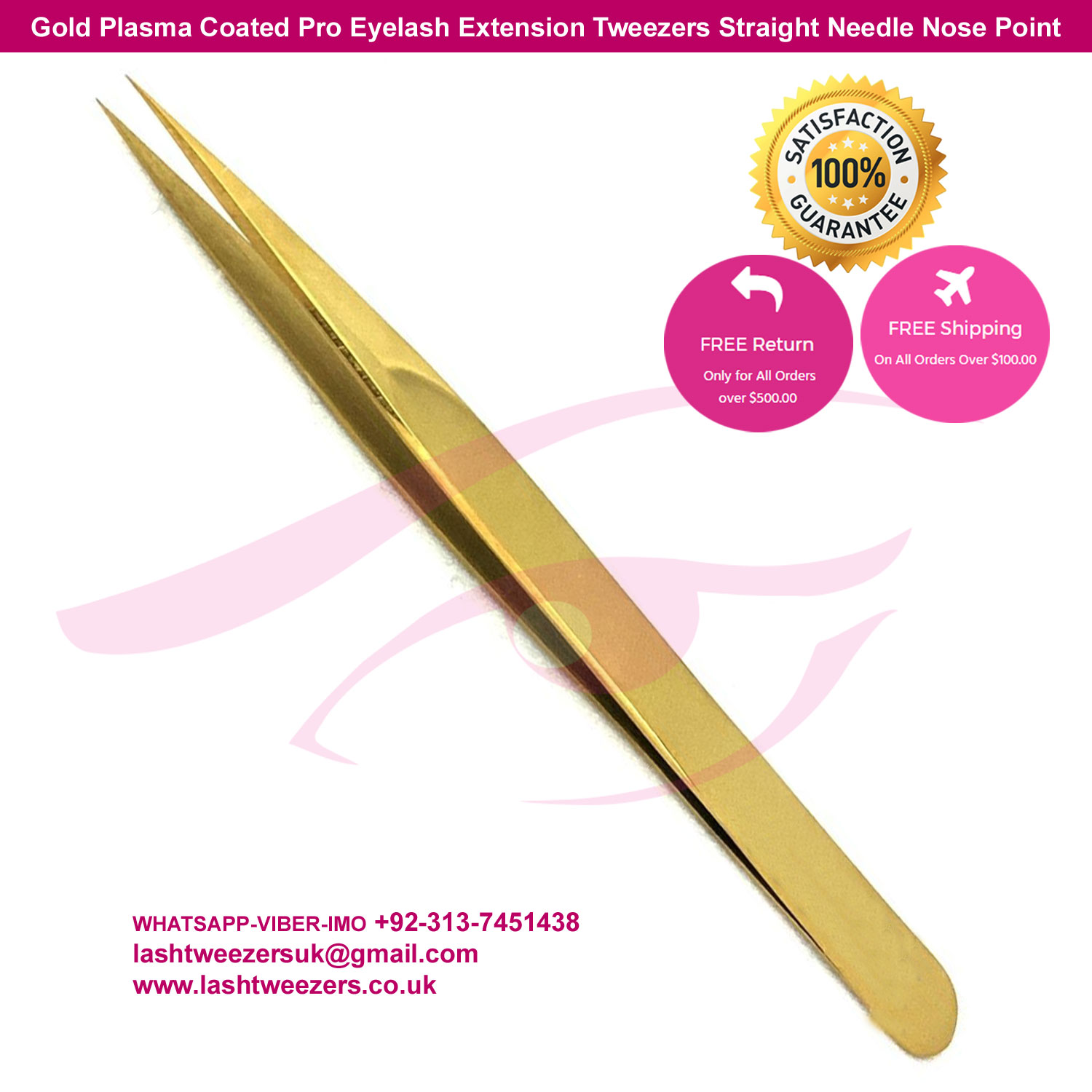 Gold Plasma Coated Pro Eyelash Extension Tweezers Straight Needle Nose Point