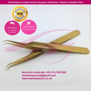 Gold Plasma Coated Volume Eyelash Extension Tweezers Needle Point