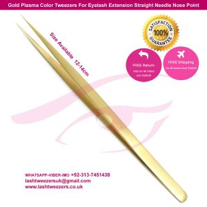 Gold Plasma Color Tweezers For Eyelash Extension Straight Needle Nose Point