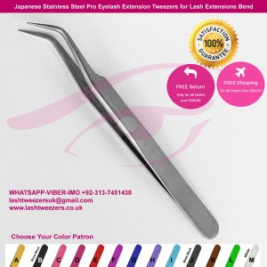Japanese Stainless Steel Pro Eyelash Extension Tweezers for Lash Extensions Bend