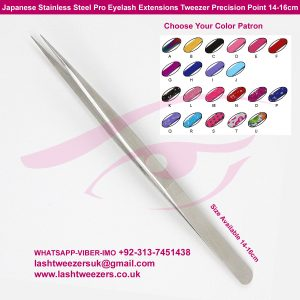 Japanese Stainless Steel Pro Eyelash Extensions Tweezer Precision Point 14-16cm