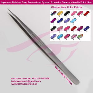 Japanese-Stainless-Steel-Professional-Eyelash-Extension-Tweezers-Needle-Point-14cm