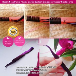 Needle Nose Purple Plasma Coated Eyelash Extensions Tweezer Precision Tip