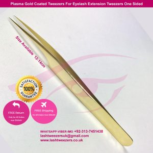Plasma Gold Coated Tweezers For Eyelash Extension Tweezers One Sided
