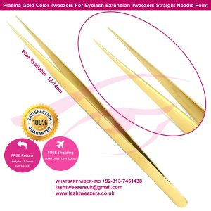 Plasma Gold Color Tweezers For Eyelash Extension Tweezers Straight Needle Point