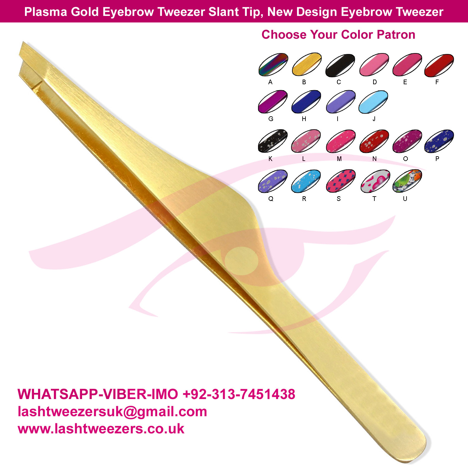 Plasma Gold Eyebrow Tweezer Slant Tip, New Design Eyebrow Tweezer