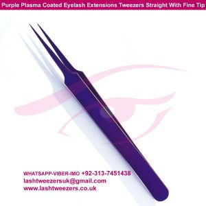 Purple Plasma Coated Eyelash Extensions Tweezers Straight With Fine Tip