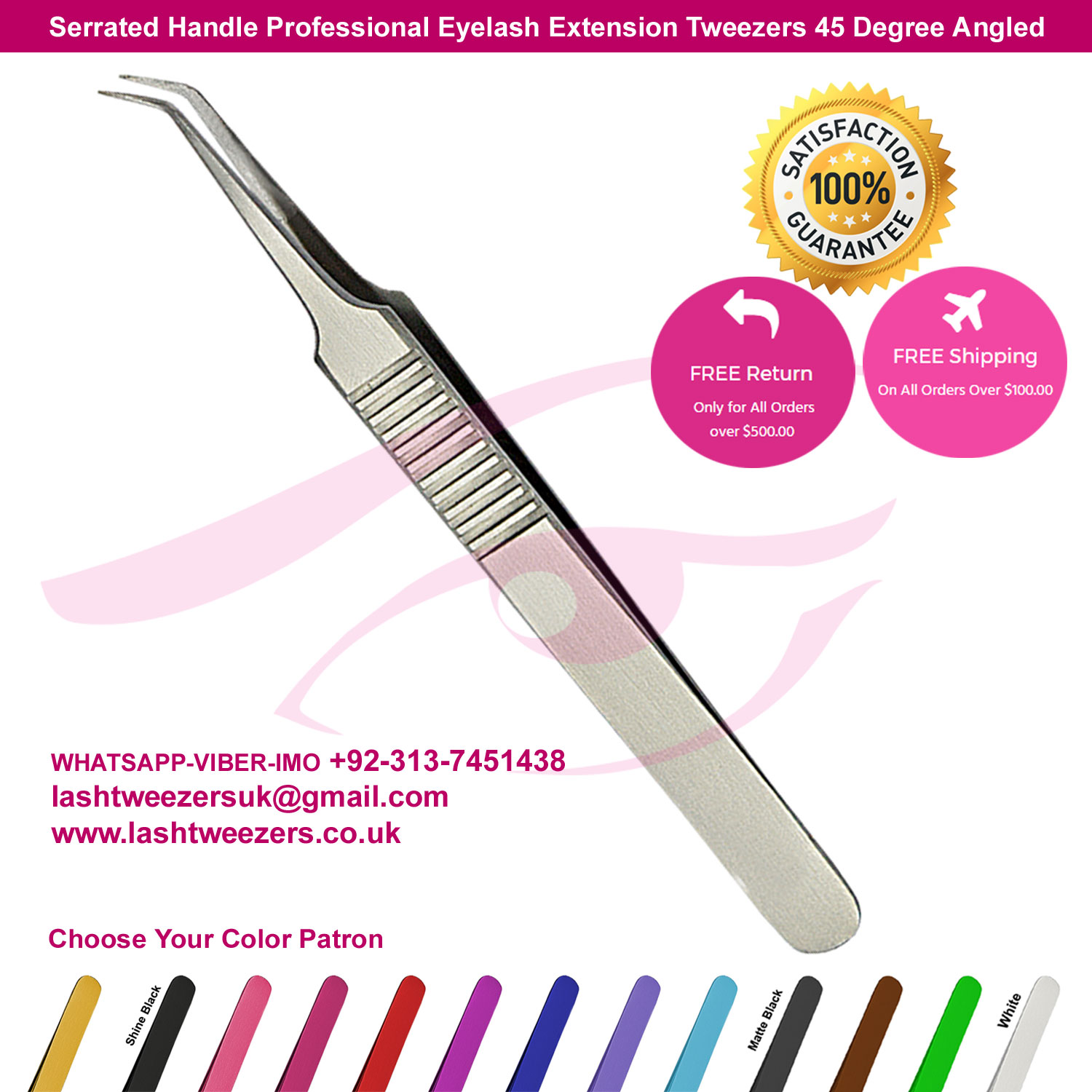 Serrated Handle Professional Eyelash Extension Tweezers 45 Degree Angled