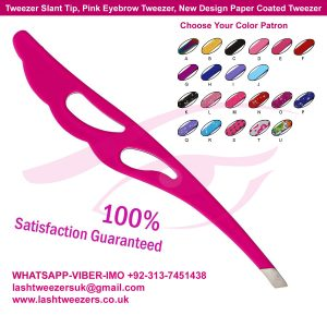 Tweezer Slant Tip, Pink Eyebrow Tweezer, New Design Paper Coated Tweezer