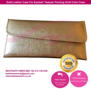 Gold Leather Case For Eyelash Tweezer Packing Gold Color Case