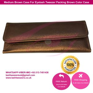 Medium Brown Case For Eyelash Tweezer Packing Brown Color Case