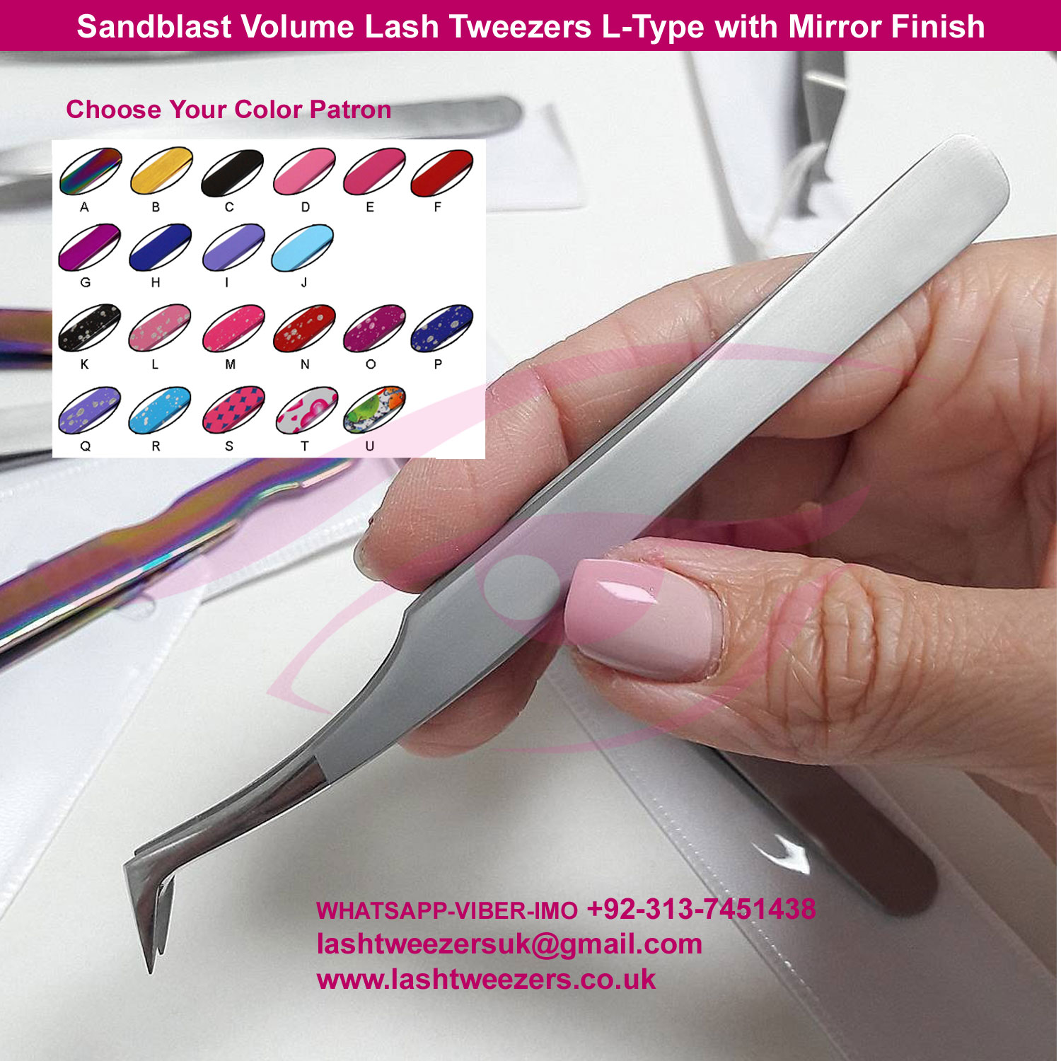 Sandblast Volume Lash Tweezers L-Type with Mirror Finish