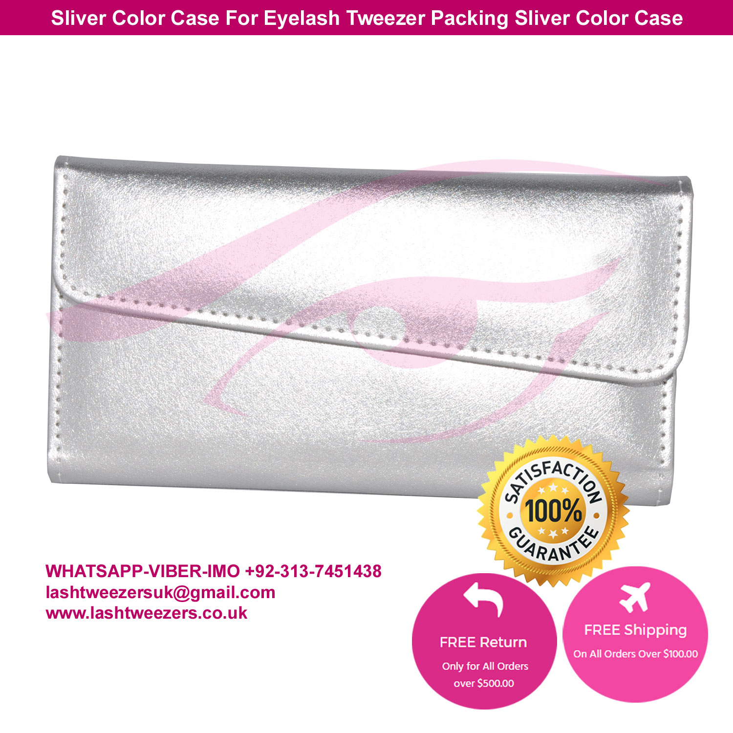 Sliver Color Case For Eyelash Tweezer Packing Sliver Color Case