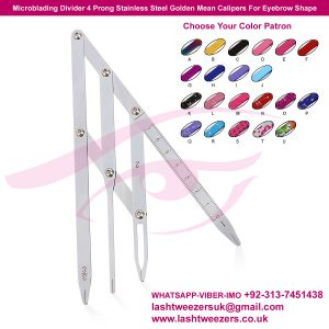 Microblading Divider 4 Prong Stainless Steel Golden Mean Calipers For Eyebrow Shape