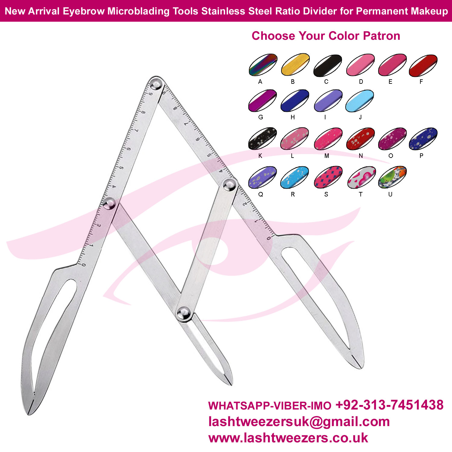 New Arrival Eyebrow Microblading Tools Stainless Steel Ratio Divider for Permanent Makeup