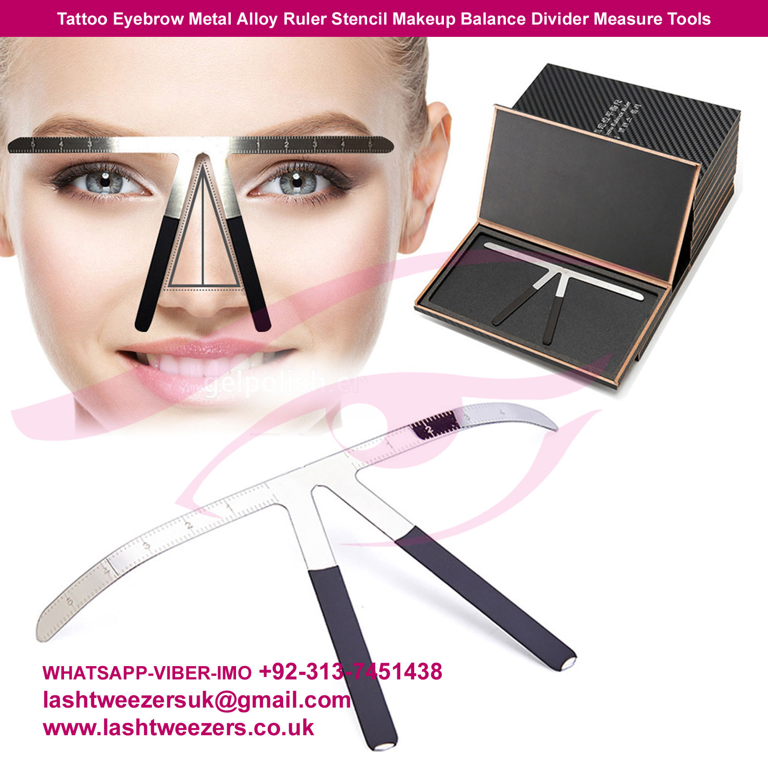 Tattoo Eyebrow Metal Alloy Ruler Stencil Makeup Balance Divider Measure Tools