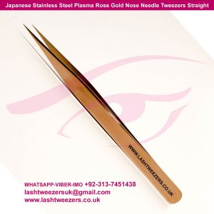 Japanese Stainless Steel Plasma Rose Gold Nose Needle Tweezers Straight