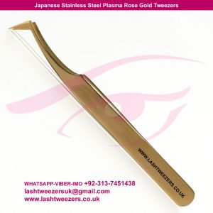Japanese Stainless Steel Plasma Rose Gold Volume Lash Tweezers