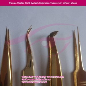 Plasma Coated Gold Eyelash Extension Tweezers in different shape
