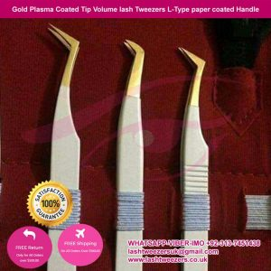 Gold Plasma Coated Tip Volume lash Tweezers L-Type paper coated Handle